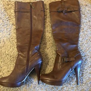 Guess Knee High, heeled, brown boots
